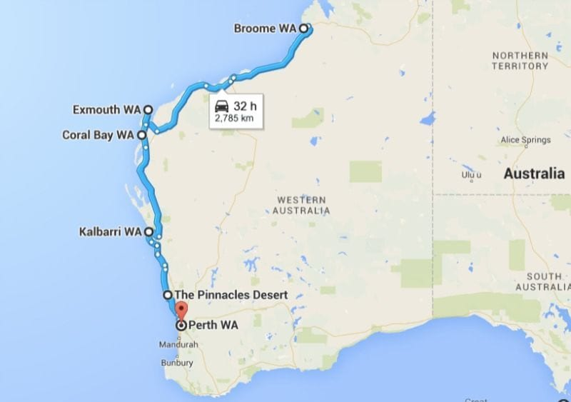 PErth to Broome road trip map