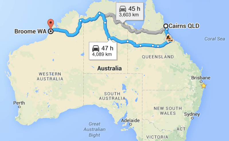 Savannah Way Queensland road trip map