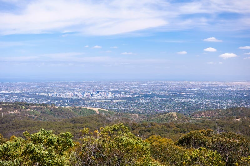 Stunning views over Adelaide, South Australia from Mt Lofty