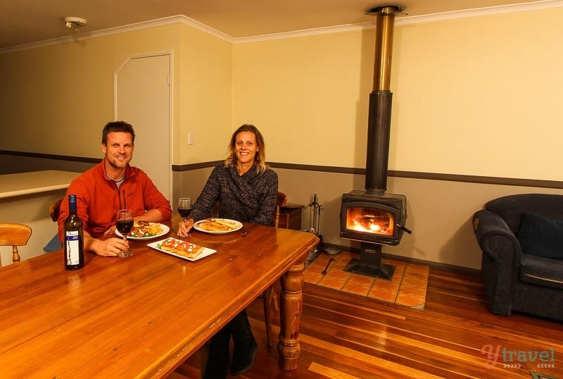 Dinner by the fire in the Bunya Mountains, Queensland, Australia