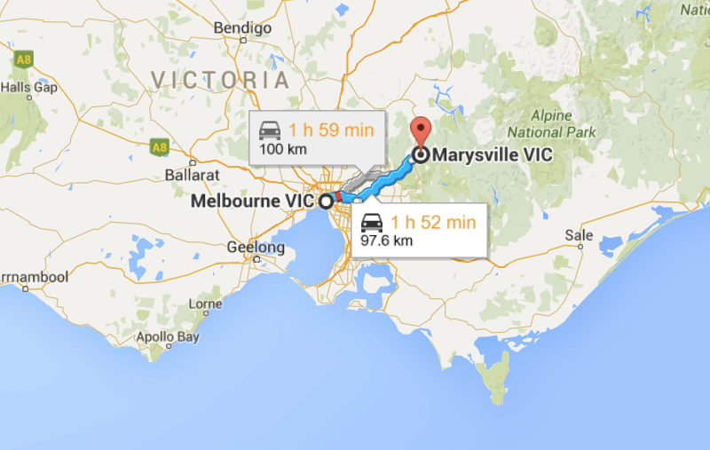 Melbourne to Marysville map