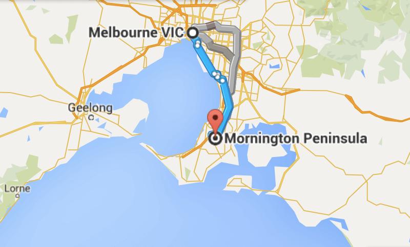 Distance Melbourne to Mornington Peninsula map