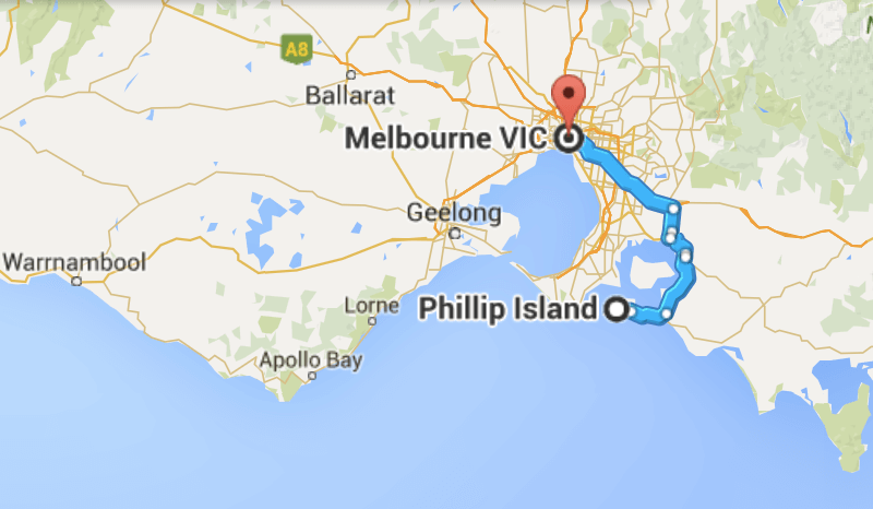 Melbourne to Phillip Island map