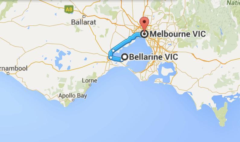 Melbourne to Bellarine Peninsula map