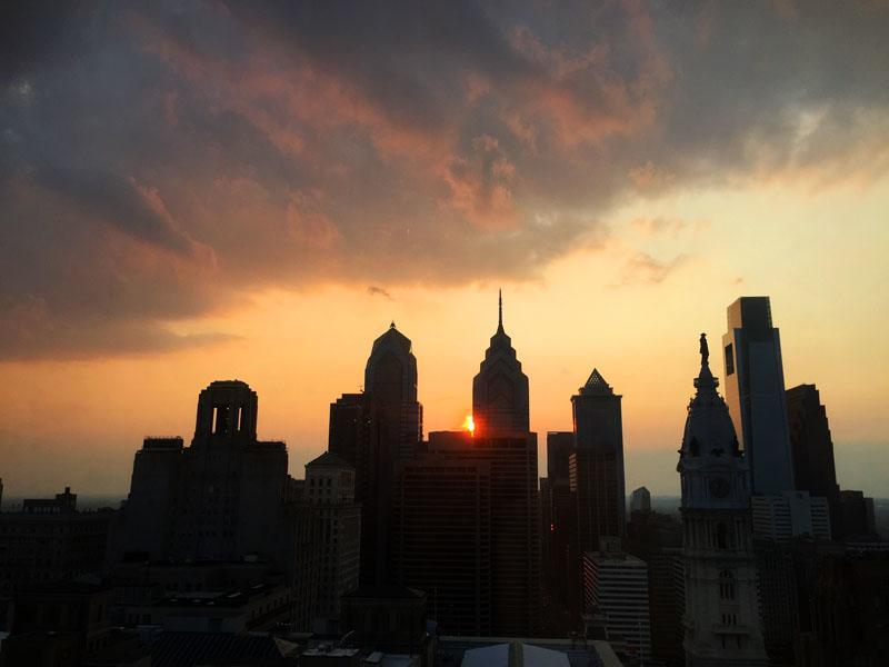 Philadelphia Skyline at Sunset, Pennsylvania
