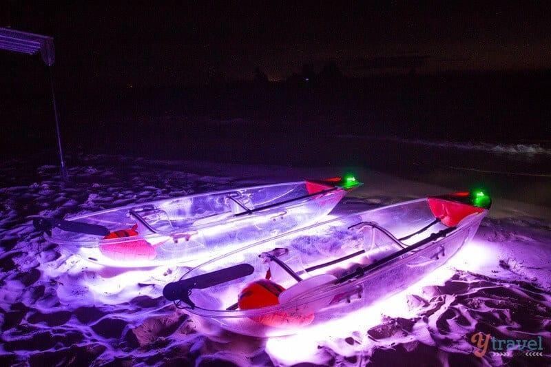 Transparent kayaks, Moreton Island, Queensland, Australia