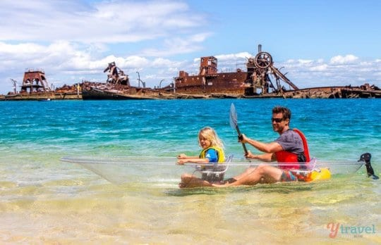 Kayaking on Moreton Island, Queensland, Australia