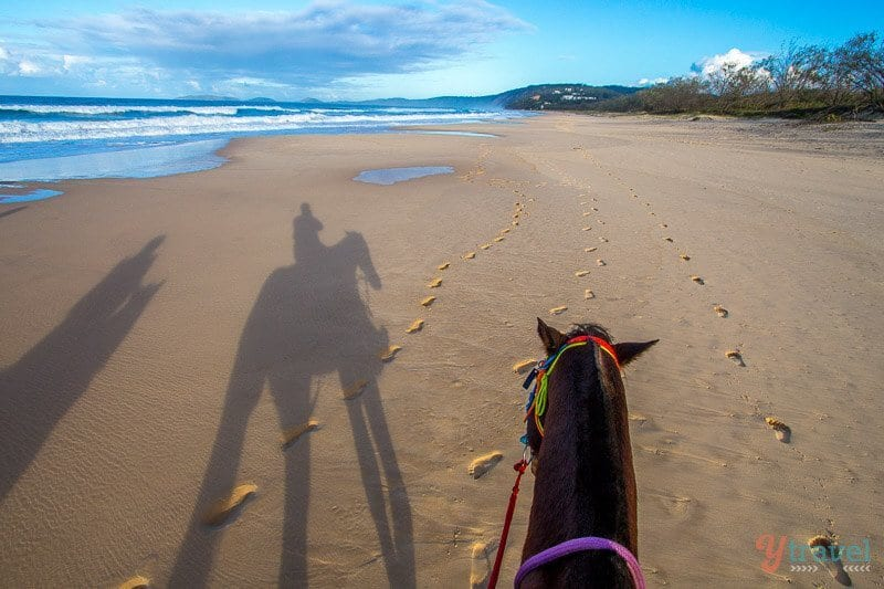 Horse riding on Rainbow Beach, Queensland, Australia