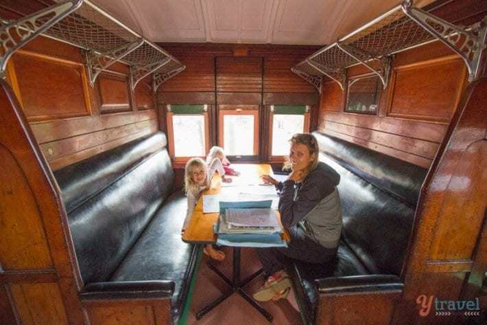 School lessons on the road in an old train carriage in Outback Queensland