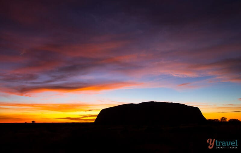 Sunrise silhouette of Uluru, Northern Territory, Australia