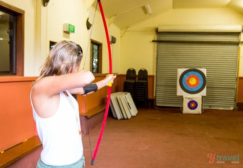 Archery in the Binna Burra Mountains in Lamington National Park, Gold Coast Hinterland, Australia