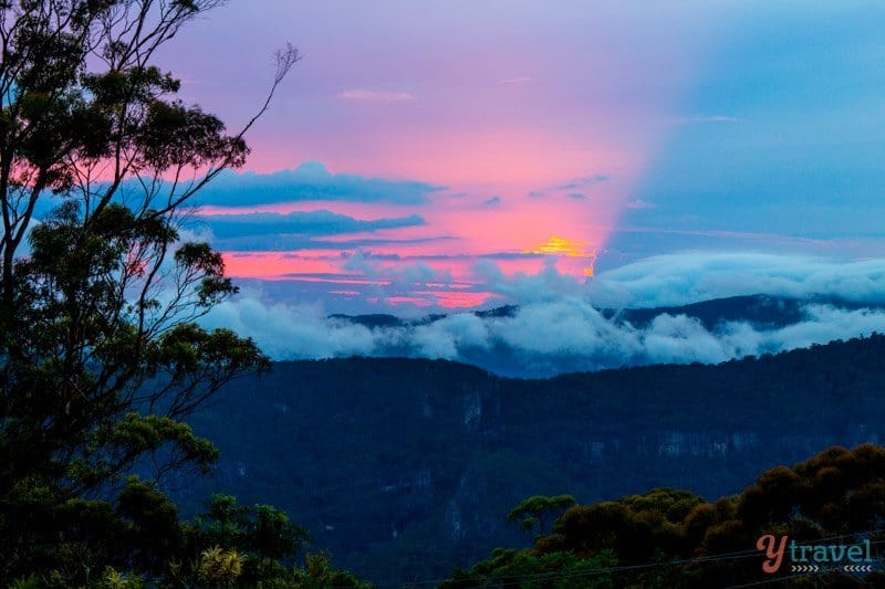 Sunrise in the Binna Burra Mountains in Lamington National Park, Gold Coast Hinterland, Australia