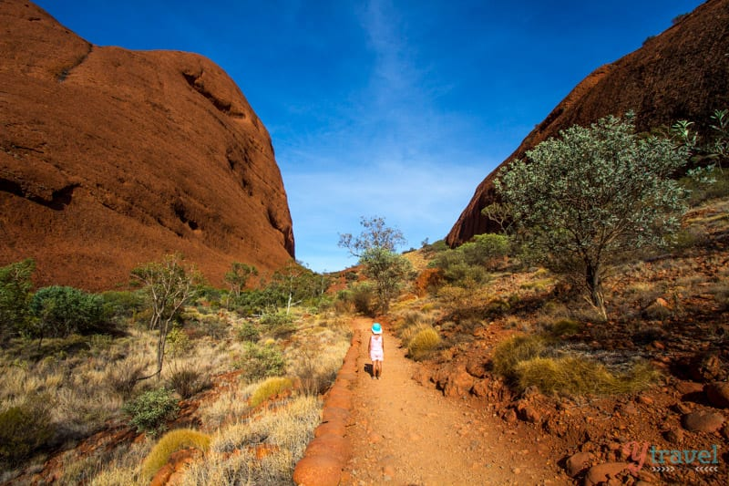 Hiking at Kata Tjuta in the Northern Territory of Australia