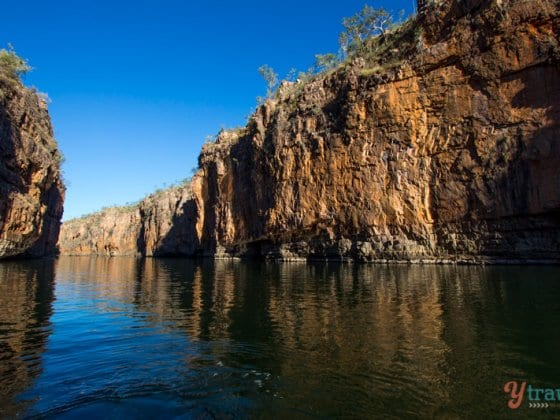 Sunrise cruise through the Katherine Gorge in the Northern Territory of Australia
