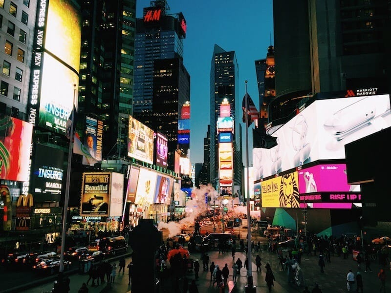 Time Square - One of the best Free things to do in NYC. More tips on our blog!