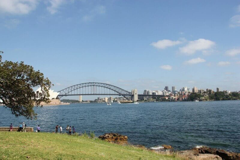 View of Sydney Harbour from Mrs Macquarie's Chair in the Royal Botanic Gardens