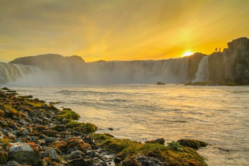 Sunset in Godafoss- things to see on an Iceland road trip