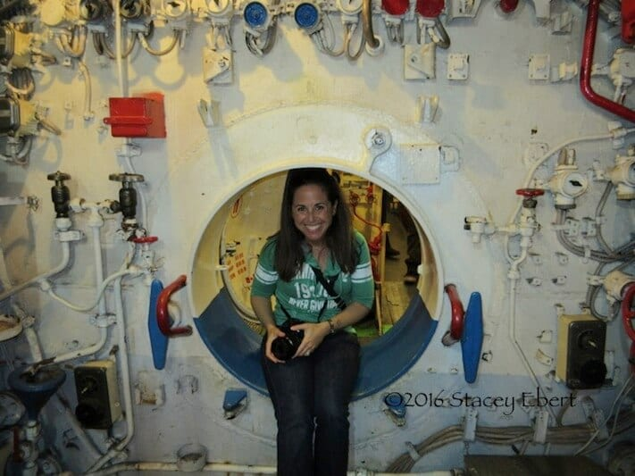 Caz smiles at the Maritime Museum in San Diego
