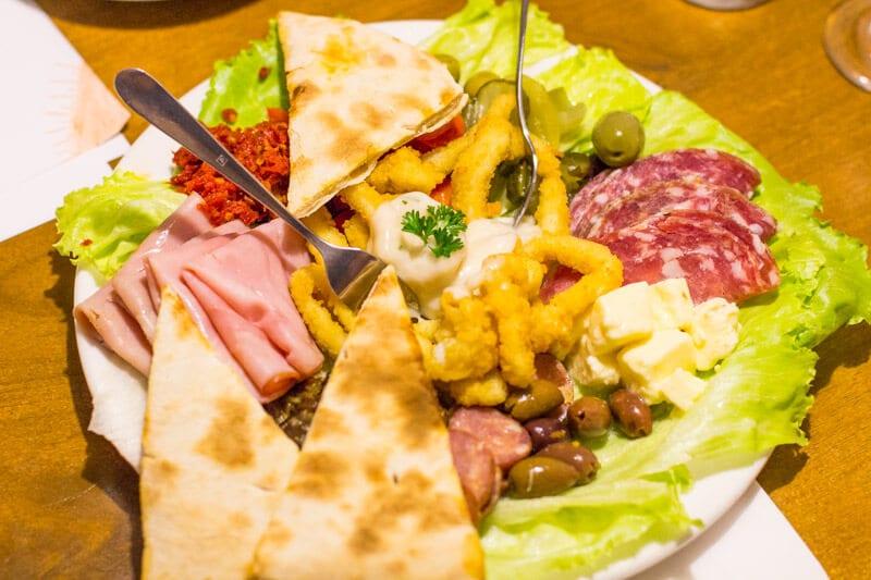 Yummy antipasto platter at the Casa Mia Italian restaurant in Ipswich, Queensland