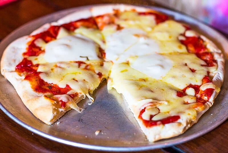 Cheese pizza at the Pumpyard Bar & Brewery in Ipswich, Queensland