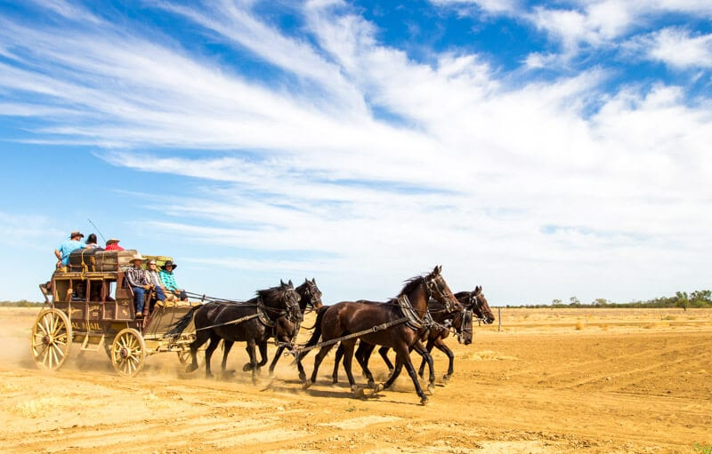Stagecoach ride with Kinnon & Co in Longreach, Outback Queensland