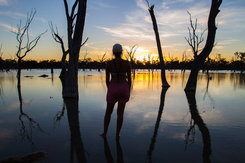 sunset at Lara Wetlands, Outback Queensland