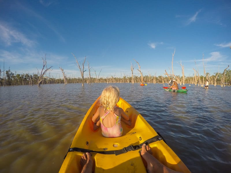 Kayaking at Lara Wetlands in Outback Queensland