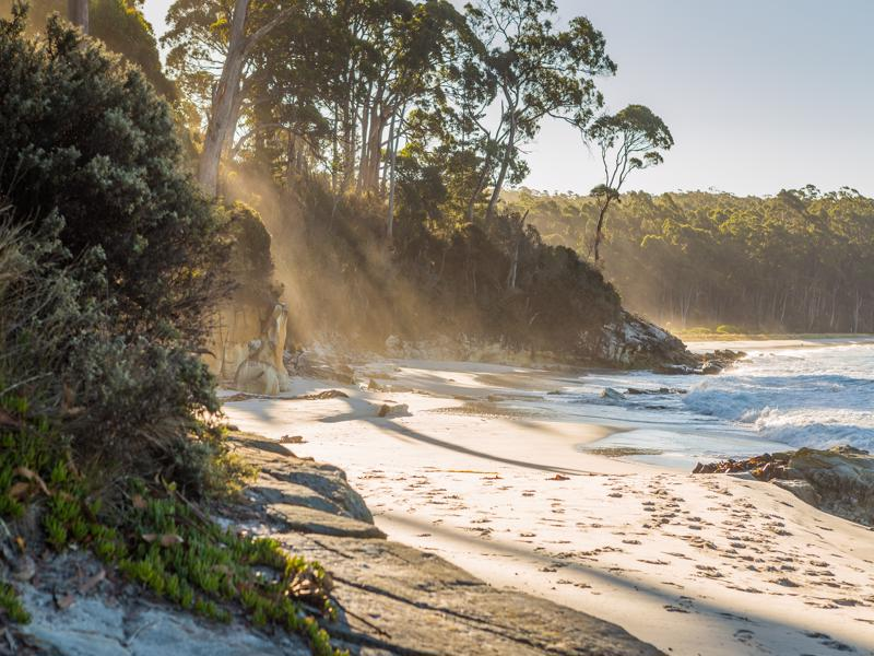 The beach at Resolution Creek in Adventure Bay, Bruny Island, Tasmania