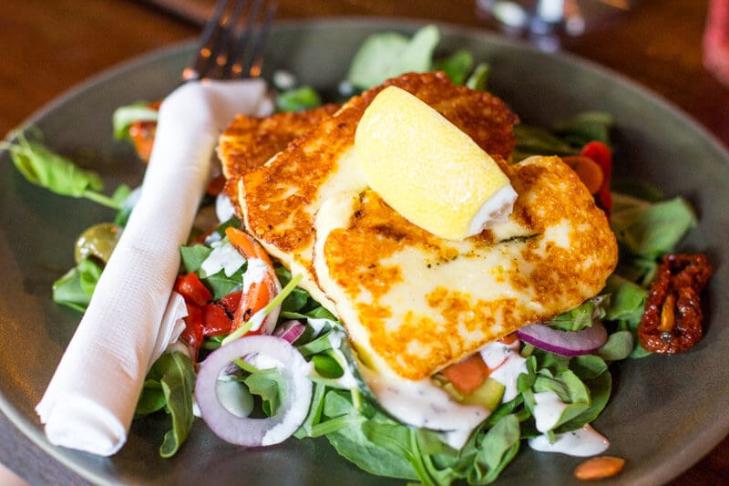 Haloumi salad at 4 Hearts Brewing Pumpyard Bar and Brewery in Ipswich, Queensland