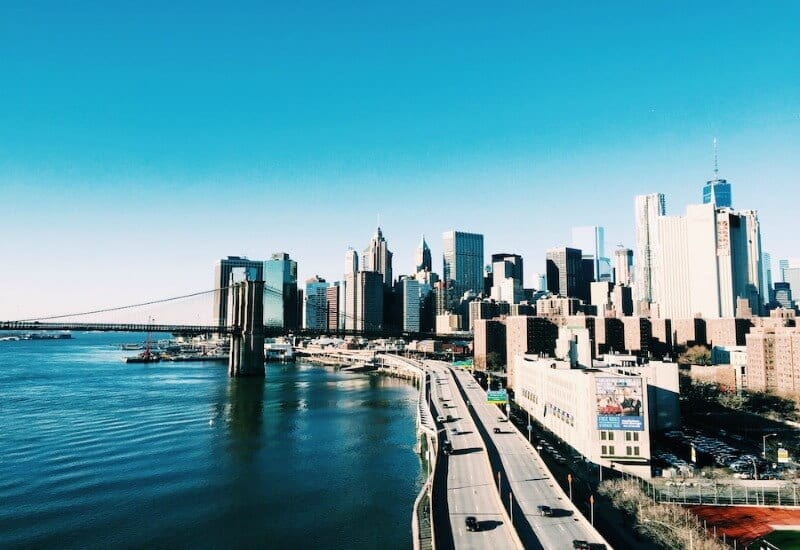 Get great views of New York City from Manhattan Bridge