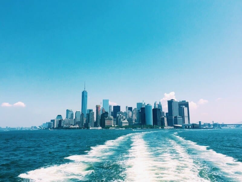The Staten Island Ferry offers some of the best NYC views over the Manhattan skyline