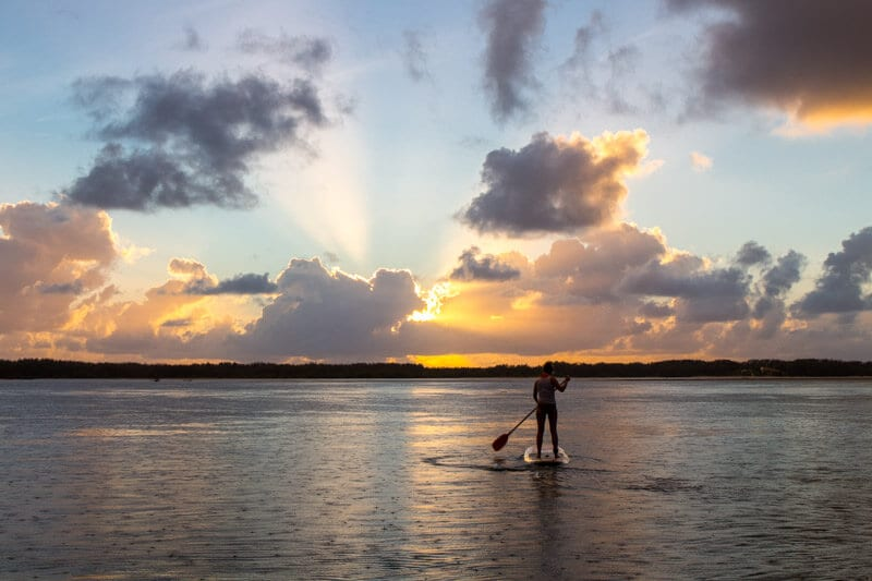 Sunrise stand up paddle board at Caloundra on the Sunshine Coast of Queensland