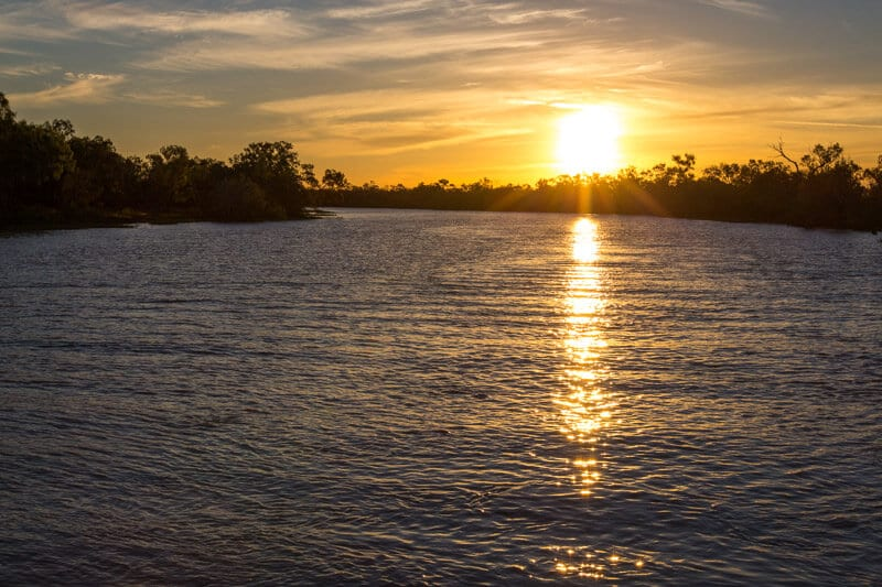 Sunset on the Thomson River in Longreach, Outback Queensland