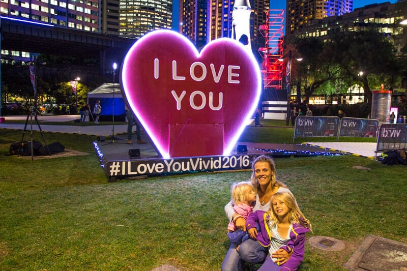 "The ""I Love You"" installation in Sydney during the Vivid Sydney Festival"
