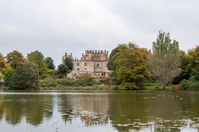View of autumn colours in the grounds of Sherborne castle in Dorset.