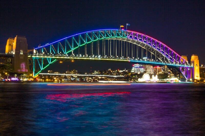 The Sydney Harbour Bridge during the Vivid Sydney Festival of lights.