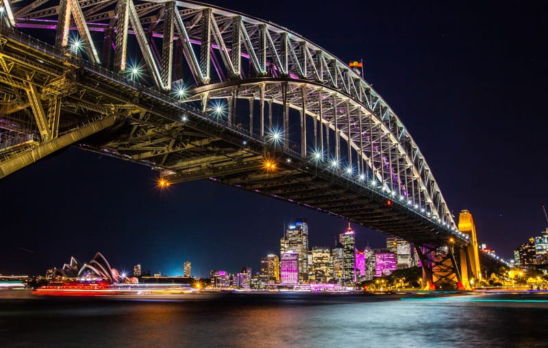 The Sydney Harbour Bridge during the Vivid Sydney Festival