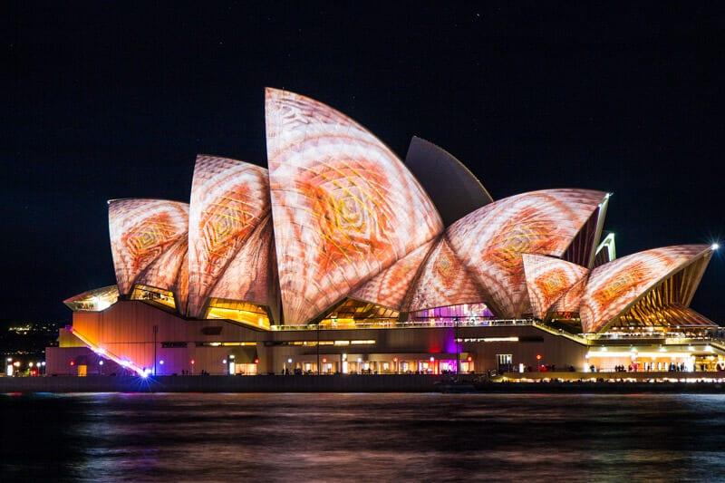 The Sydney Opera House during the Vivid Sydney Festival of lights.