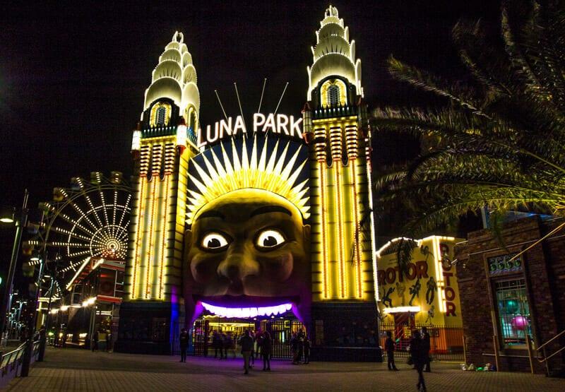 Luna Park in Sydney during the Vivid Sydney Festival