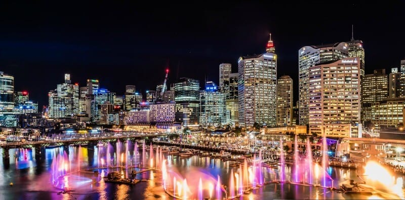 Darling Harbour during the Vivid Sydney Festival