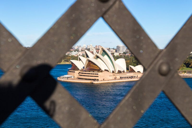 View of the Sydney Opera House from walking over the Harbour Bridge