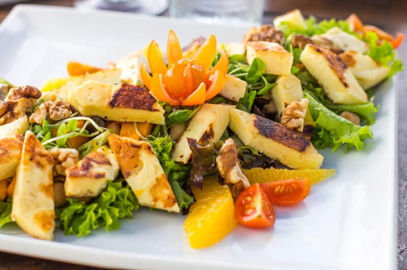 Eimeo Beach hotel, haloumi salad in Mackay, Queensland