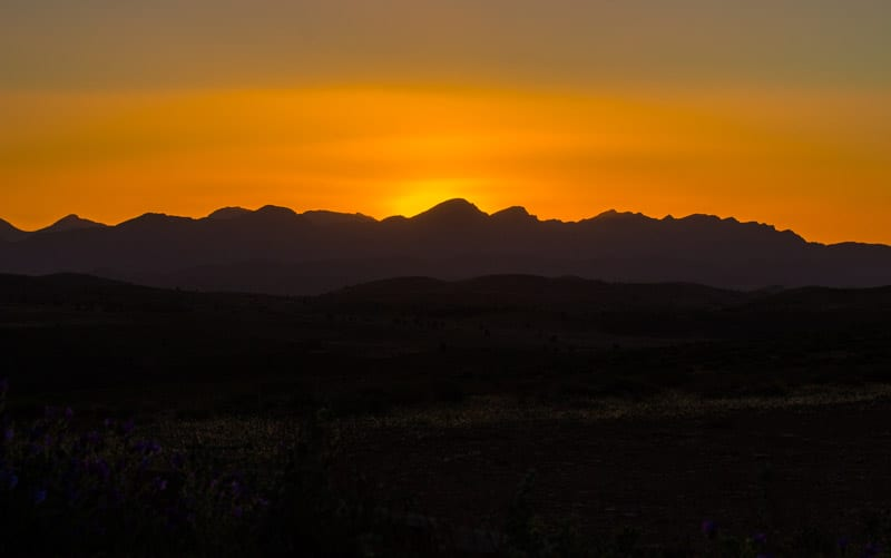 Sunset at Stokes Hill is one of the best things to do in the Ikara Flinders Ranges National Park. Click to read more about this beautiful region to visit in South Australia.