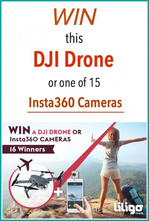 Simply read our travel bucket list post, then enter the sweepstakes to win a DJI Drone or one of the 15 Insta360 Cameras up for grabs (16 winners)