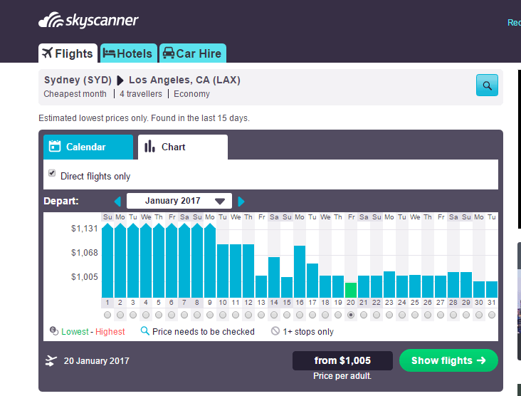 searching for flights using Skyscanner