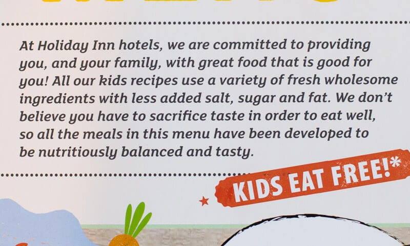 Kids menu at Holiday Inn Sydney Airport