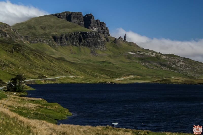 on the road between Edinburgh and Skye, I recommend driving just a little North of Portree to admire the icon of the Isle of Skye the Old Man of Storr - Scotland