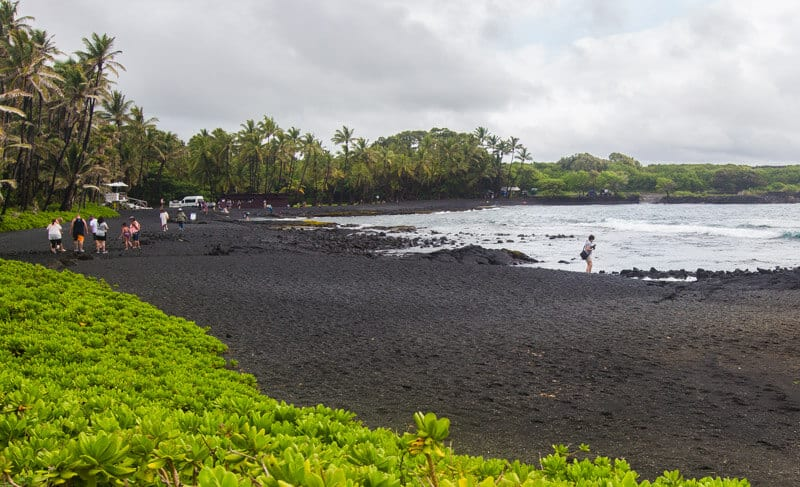 Punaluu Beach (Black Sand Beach) on the Big Island of Hawaii