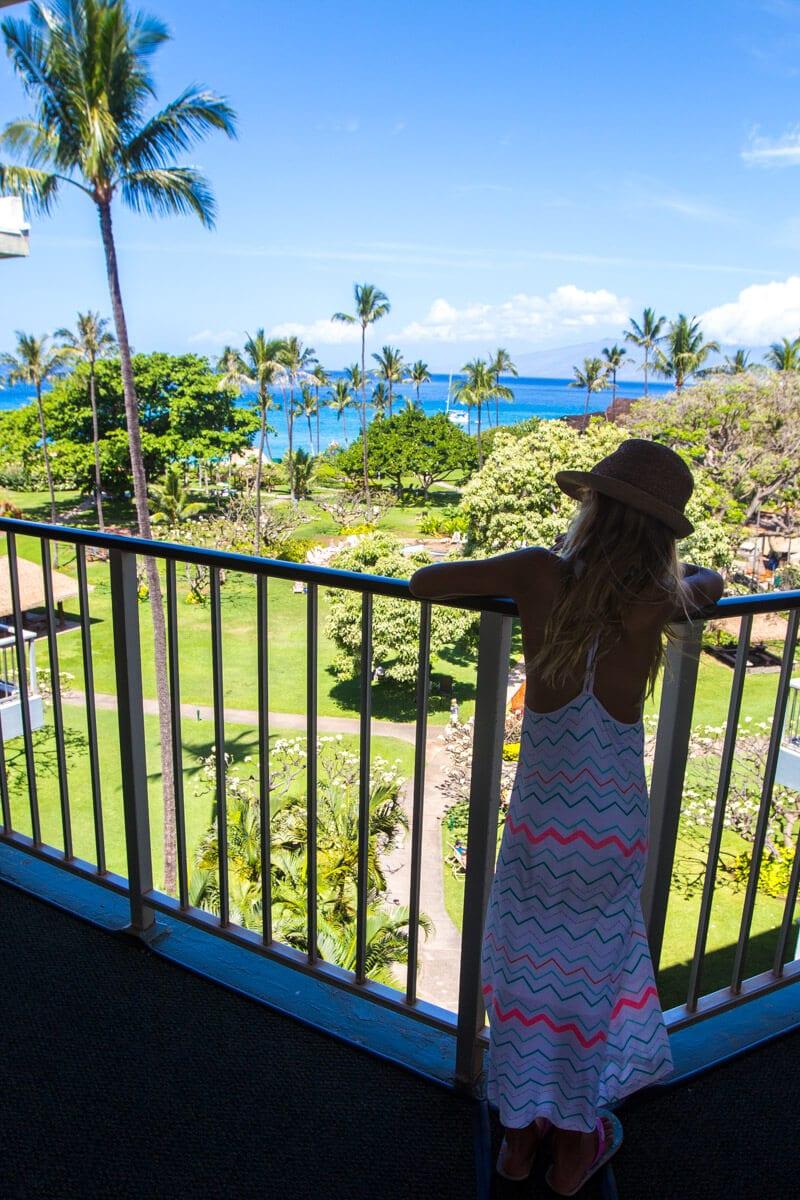 Overlooking Kaanapali Beach from Kaanapali Beach Hotel on the island of Maui in Hawaii