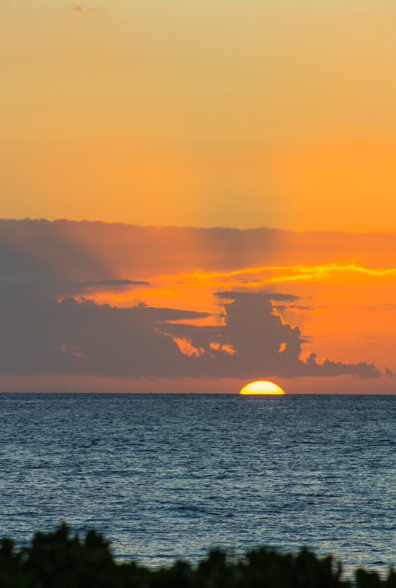 Sunset over Kaanapali Beach on the island of Maui in Hawaii